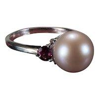 Genuine Blush Pearl Rhodolite Garnet Ring 14k Gold Cultured Pearl Ring