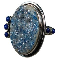 Amy Kahn Russell Natural Quartz Druzy Stone Lapis 925 Sterling Silver Ring Signed AKR