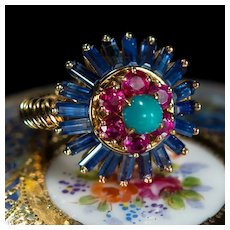 Sapphire Ruby Turquoise Ring 5ctw 18k Gold Mixed Gemstone Ring