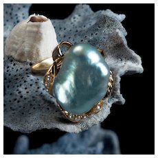 Antique South Sea Baroque Silver Pearl 14k Gold Ring