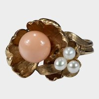 Angel Skin Coral Bead Pearl Lily Pad Ring 14k Gold Hand Crafted Art Nouveau