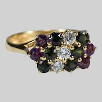 Diamond Tourmaline Amethyst 18k Gold London Assay Ring