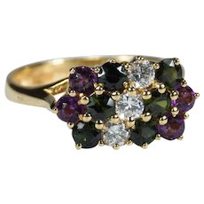 Diamond Tourmaline Amethyst 18k Gold London Assay Ring