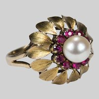 Ruby Pearl Ring 14k Gold Cultured Pearl Ruby Flower Ring
