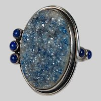 Blue Quartz Druzy Stone Lapis 925 Sterling Silver Ring Signed AKR Amy Kahn Russell