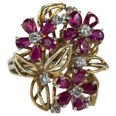 Art Deco Ruby Diamond Ring 14k Gold 4.68ctw Cocktail Flower Bouquet