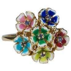 Multi Color Enamel Sapphire Pansy Ring 18k Gold Flower Bouquet