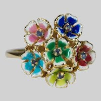 Natural Sapphire Enamel Pansy Ring 18k Gold Mixed Color Flower Bouquet