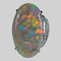 Natural Black Opal Diamond Ring 18k 22ctw Australian Semi Black Opal
