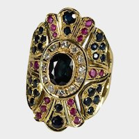 Sapphire Ruby Diamond Ring 18k Gold Mixed Gemstone Large Band Shield Wrap