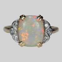 Antique Cushion Cut Opal Diamond Ring 14k Natural Opal
