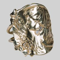 Antique Art Nouveau E Dropsy Cameo Diamond Ring 14k Gold Designer Signed Iris Cameo Ring