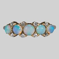 Antique Old Rose Cut Diamond Opal Band 14k Victorian Ring