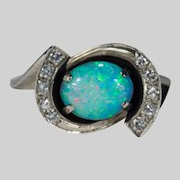 Vintage Natural Opal Diamond 14k Gold Black Enamel Ring