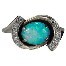 Vintage Natural Opal Diamond 14k Gold Black Enamel Ring