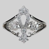 Natural Diamond Fleur de lis Ring .46ctw 14k Gold Designer Signed