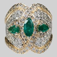 Natural Emerald Diamond Band 4ctw 14k Gold Statement Ring