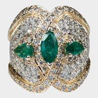 Natural Emerald Diamond Band 4ctw 14k Gold Statement Ring