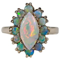 Natural Opal Halo Navette Ring 2.20ctw 10k Gold