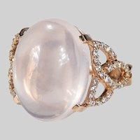 Natural Rose Quartz Diamond Ring 16ctw 18k Rose Gold Trinity Knot