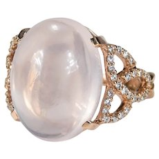Natural Rose Quartz Diamond Ring 16ctw 18k Rose Gold Trinity Knot