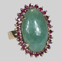 Genuine Jade Ruby Ring 18k Gold Green Jade Ruby Halo Handcrafted Ring
