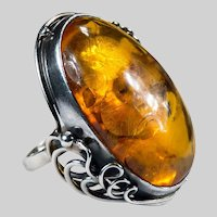 Russian Natural Baltic Amber Solitaire Ring 925 Sterling Silver