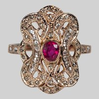 Rose Cut Diamond Ruby Filigree Ring 1.29ctw 14k Rose Gold