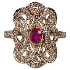 Rose Cut Diamond Ruby Filigree Ring 1.29ctw 14k Rose Gold