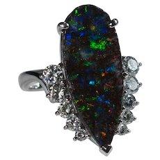 Platinum 7.96ctw Australian Lightning Ridge Natural Black Rough Boulder Opal Diamond Ring