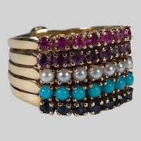 5 Band Stacking Harem Ring 14k Gold Sapphire Turquoise Pearl Amethyst Ruby
