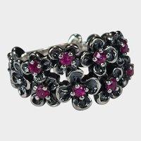 Genuine Ruby Flower Ring 925 Sterling Oxidized Designer Flower Band
