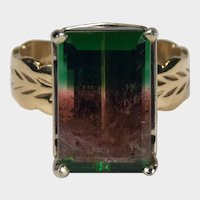 Solitaire Watermelon Tourmaline Ring 9.40ctw 14k Wheat Carved Wide Band