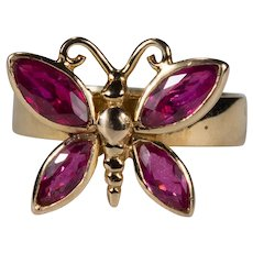 3D Ruby Wing Butterfly Ring 14k Gold Band