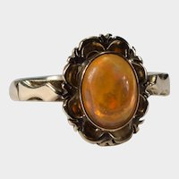 Antique Natural Orange Fire Opal Ring 14k Gold Solitaire