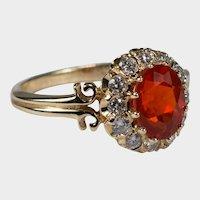Natural Red Fire Opal Diamond Ring 14k Plumb Gold