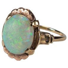 Victorian Natural Precious Opal Ring 10k Gold Antique