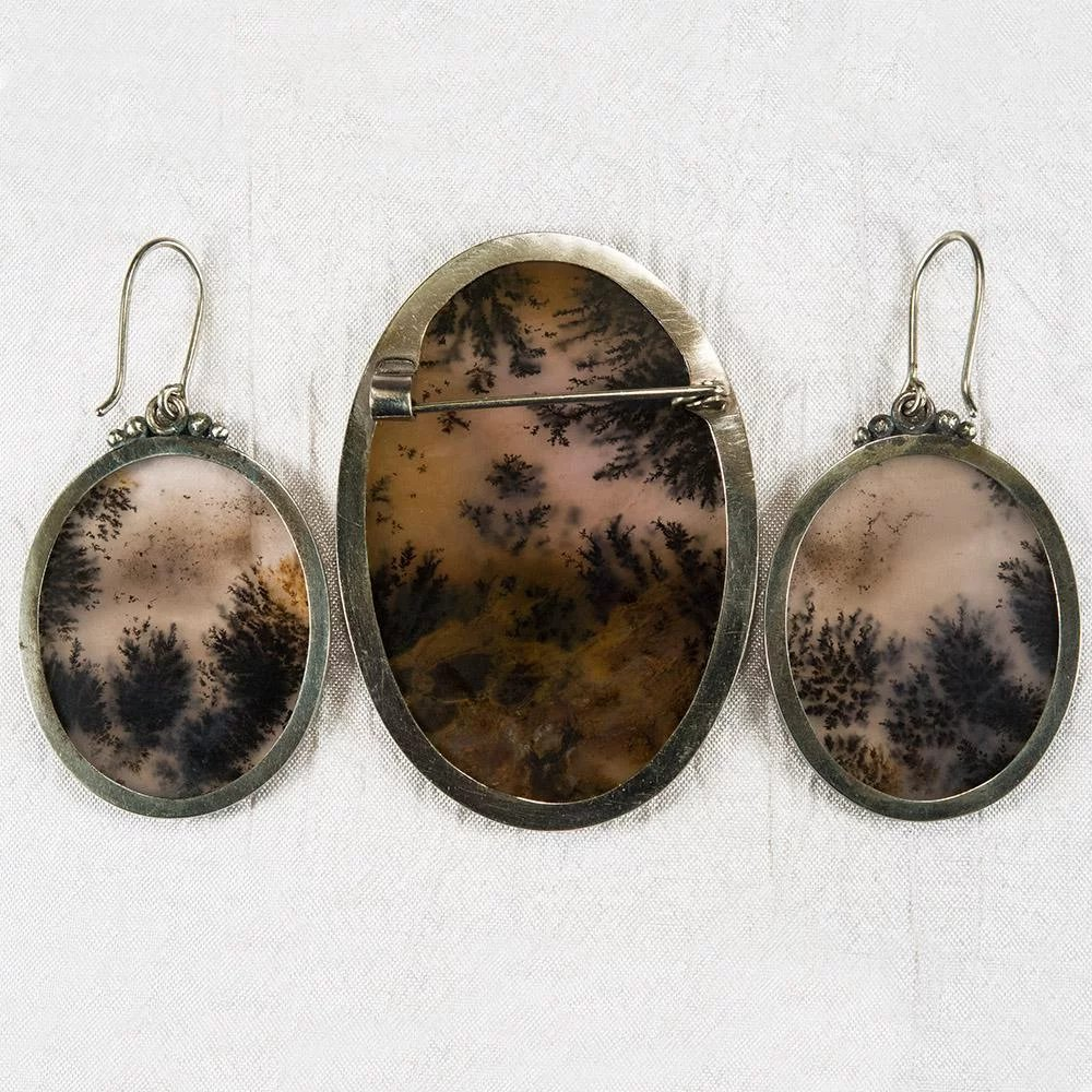 Dendritic Fern Picture Agate Earrings Brooch Sterling