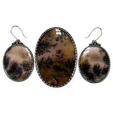 Dendritic Fern Picture Agate Earrings Brooch Sterling