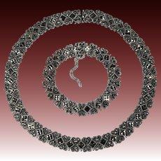 Art Deco Marcasite 925 Sterling Silver Heart Necklace Bracelet Set