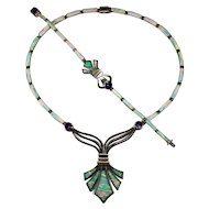 Amethyst Opal Inlay Necklace Bracelet 925 Sterling Silver Set Fleur De Lis