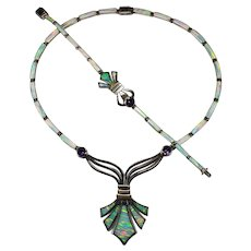 Fleur De Lis Amethyst Lab Opal Inlay Necklace Bracelet 925 Sterling Silver Set