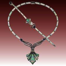 Amethyst Opal Inlay Necklace Bracelet 925 Sterling Silver Set Fleur De Lis