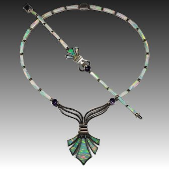Fleur De Lis Amethyst Opal Inlay Necklace Bracelet 925 Sterling Silver Set