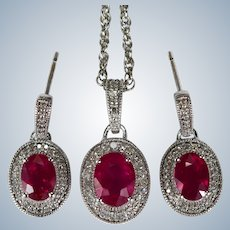 "Ruby Diamond Earrings Pendant Set 5.90ctw 14k Gold 24"" Chain Necklace"