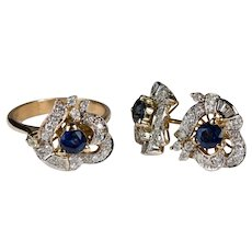 Art Deco Diamond Sapphire Ring Earrings Set 14k Gold