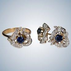 Art Deco Diamond Sapphire Ring Earrings Set 14k Gold