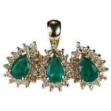 Emerald Diamond Set 14k Gold Halo Stud Earrings Pendant Gemstone Set