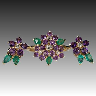 Vintage Franklin Mint Forget Me Not Earrings Ring Set 14k Gold Natural Amethyst Emerald Diamond