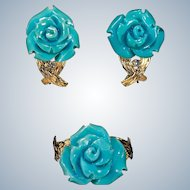 Carved Natural Persian Turquoise Rose Set 14k Gold Carved Turquoise Rose Diamond Ring Earrings